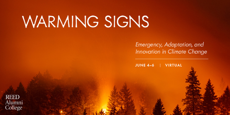 "Image of a forest on fire with the words ""Warming Signs: Emergency Adaptation and Innovation in Climate Change"""